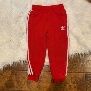 Adidas Jogger Red 3 Stripe Size 4T Trefoil